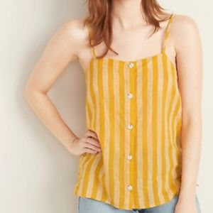 NWT Women's Yellow Striped Linen Button Up Tank